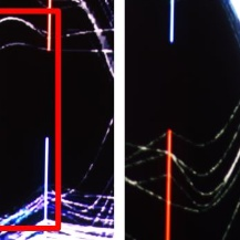 Two photos that show the difference between no foveated region (left) and the foveated region (right) at the example of parallel coordinates. The lines on the left photo are not clearly visible.  The same is true outside of the foveated region, but the lines inside it are clearly visible.