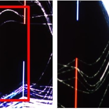 Foveated Encoding for Large High-Resolution Displays. Photos from publication showing foveated and non-fovetaed regions Two photos that show the difference between no foveated region (left) and the foveated region(right) at the example of parallel coordinates. The lines on the left photo are not clearly visible.  The same is true outside of the foveated region, but the lines inside it are clearly visible.