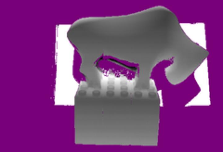 Abb. 2: Eine Tiefenkarte der Rekonstruktion. Die Farbe der Pixel kodiert die Entfernung zu der Kamera: weiße Pixel sind weiter entfernt von der Kamera, schwarze weniger