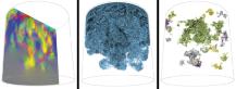 Partikelbasierte Überblicksvisualisierungen der Wettbewerbsdaten. Links: Durchschnitt durch den Datensatz, Einfärbung der Partikel nach Bewegungsrichtung; Mitte: Filterung der Partikel nach Salzkonzentration: es zeigen sich erste fingerartige Strukturen; rechts: Extrahierte Fingerstrukturen innerhalb der Daten.