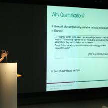 Warum brauchen wir Quantifizierbarkeit im Visual Computing? Diese Frage beantwortete Prof. Weiskopf den Gästen in seinem Vortrag.