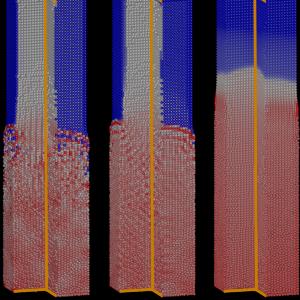 Der zusammenbrechende Flüssigkeitsblock wurde mit DFSPH (obere Reihe) und WCSPH (untere Reihe) simuliert. Von links nach rechts: Keine Kernelkorrektur, klassische Shepard-Korrektur und der in der Publikation angewandten Methode. Sowohl bei der nicht-korrigierten als auch bei der klassischen Shepard-Korrektur kann feinkörniges Rauschen im Dichtefeld beobachtet werden. Mit der neuen Technik erreichen wir ein völlig glattes Dichtefeld für WCSPH (unten rechts). Unter Berücksichtigung von DFSPH verbessert das neue Verfahren die Glätte des Dichtefeldes deutlich.