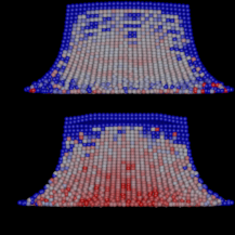 The collapsing fluid block simulated with DFSPH (upper row) and WCSPH (lower row). From left to right: no kernel correction, classical Shepard correction, and our method. For both uncorrected and classical Shepard correction, we observe fine-grained noise in the density field. Using our technique, we achieve a completely smooth density field for WCSPH (lower right). Considering DFSPH, our method still significantly improves the smoothness of the density field.