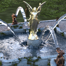 Rendering of a fountain with fluid pillards